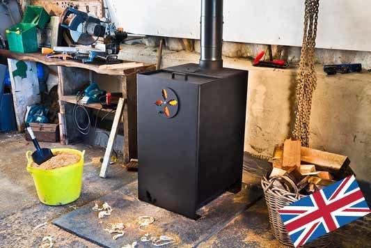 Oakfire workshop stove greenheart sawdust