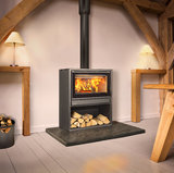 Opus Tempo 80 stove on a log store