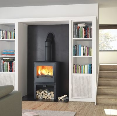 Broseley Desire 7 multifuel stove with log store
