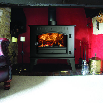 Hunter Inglenook high output flat top traditional woodburning stove