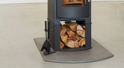Mendip Churchill 8 double sided stove with log store