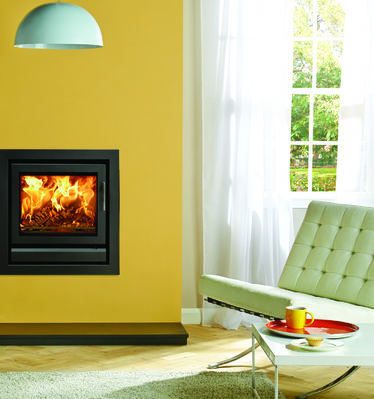 Stovax Riva 50 Stove with yellow wall