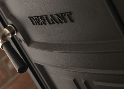 Vermont Defiant Woodburning Stove logo casting detail
