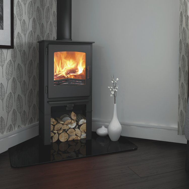 Desire 5 multifuel stove with log store