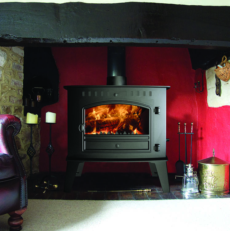 Click to read more about the Hunter Inglenook high output flat top traditional woodburning stove