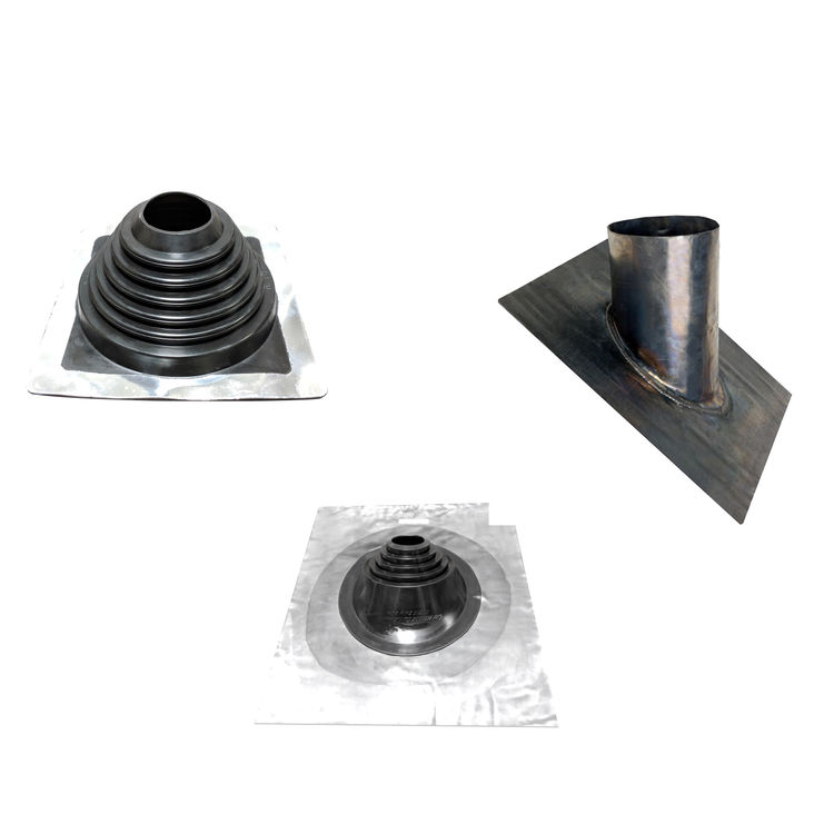 Roof flashings for flue pipe and chimney